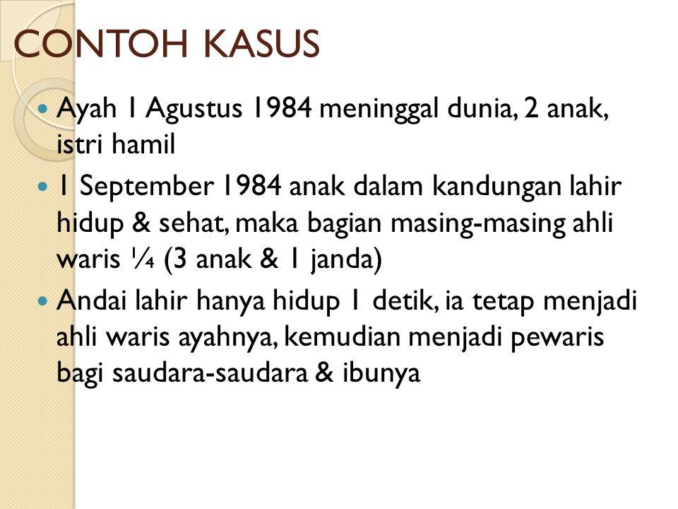 CONTOH KASUS Ayah 1 Agustus 1984 meninggal dunia, 2 anak, istri hamil