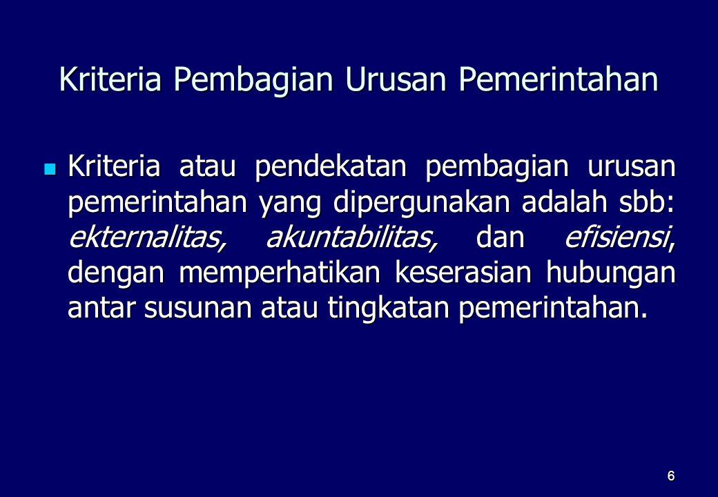 Kriteria Pembagian Urusan Pemerintahan