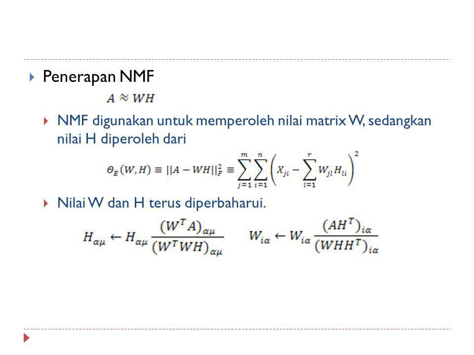 Penerapan NMF NMF digunakan untuk memperoleh nilai matrix W, sedangkan nilai H diperoleh dari.