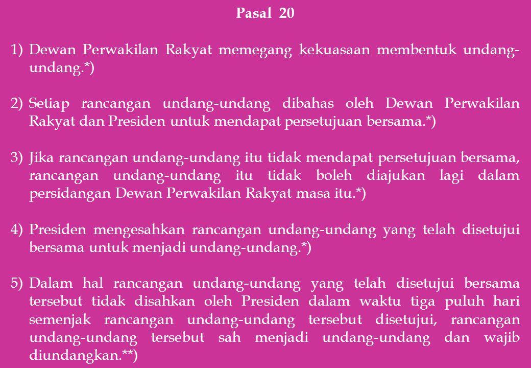 Pasal 20 Dewan Perwakilan Rakyat memegang kekuasaan membentuk undang-undang.*)