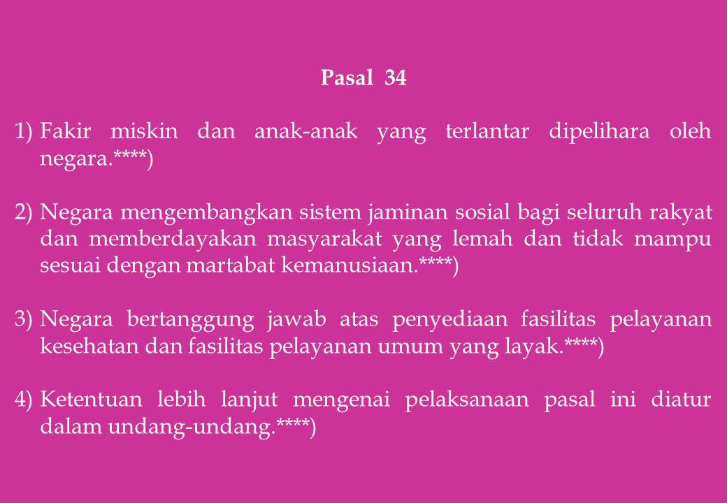 Pasal 34 Fakir miskin dan anak-anak yang terlantar dipelihara oleh negara.****)