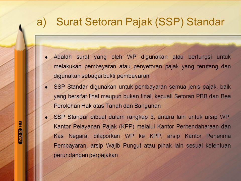 Surat Setoran Pajak (SSP) Standar