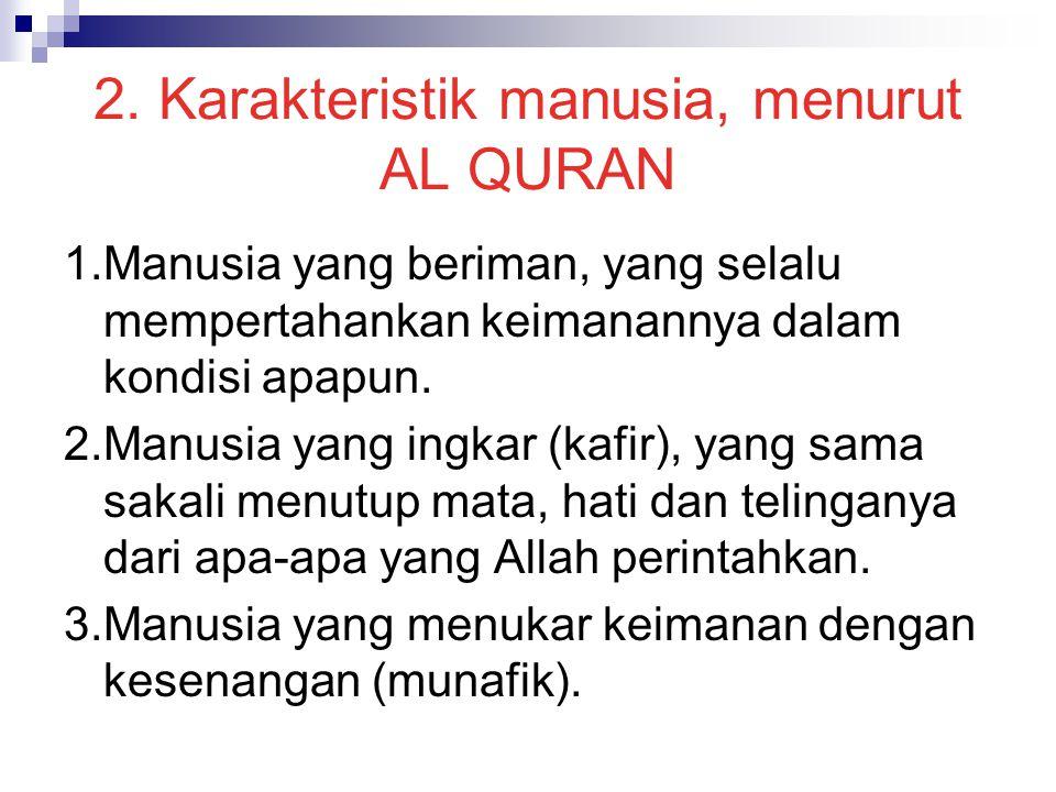 2. Karakteristik manusia, menurut AL QURAN