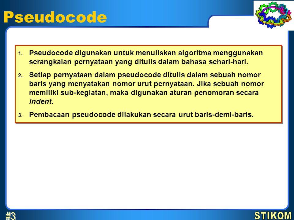 Pseudocode 3 April 2017. Pseudocode digunakan untuk menuliskan algoritma menggunakan serangkaian pernyataan yang ditulis dalam bahasa sehari-hari.