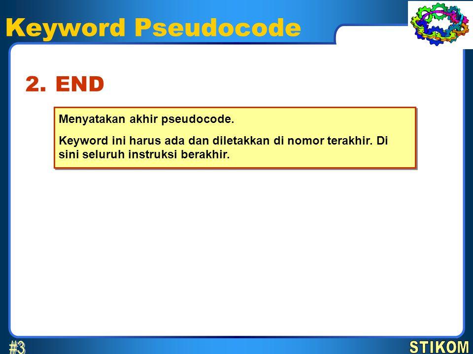 Keyword Pseudocode #3 2. END STIKOM Menyatakan akhir pseudocode.