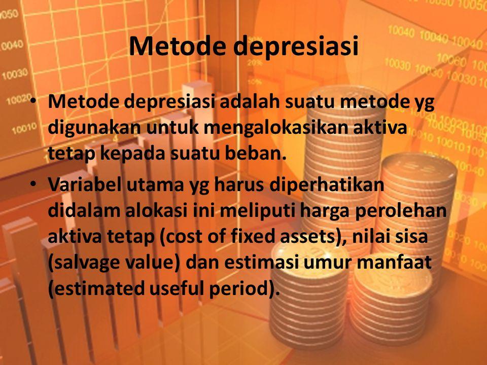 Metode depresiasi Metode depresiasi adalah suatu metode yg digunakan untuk mengalokasikan aktiva tetap kepada suatu beban.