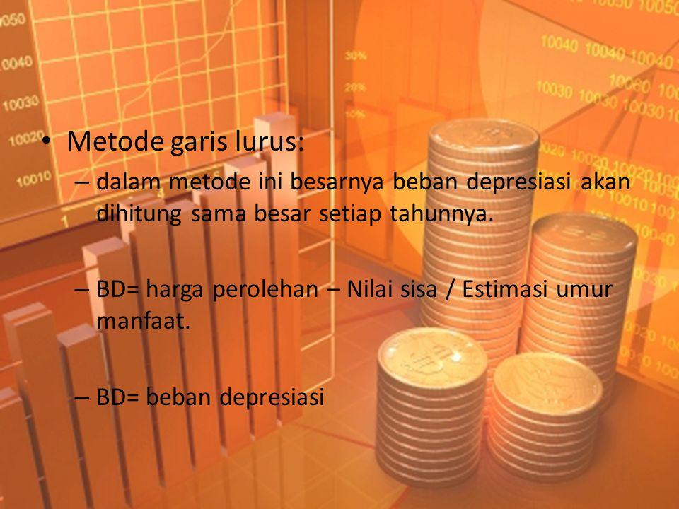 Metode garis lurus: dalam metode ini besarnya beban depresiasi akan dihitung sama besar setiap tahunnya.