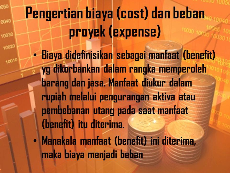 Pengertian biaya (cost) dan beban proyek (expense)