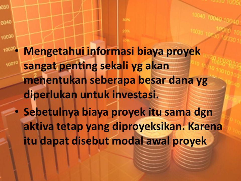 Mengetahui informasi biaya proyek sangat penting sekali yg akan menentukan seberapa besar dana yg diperlukan untuk investasi.