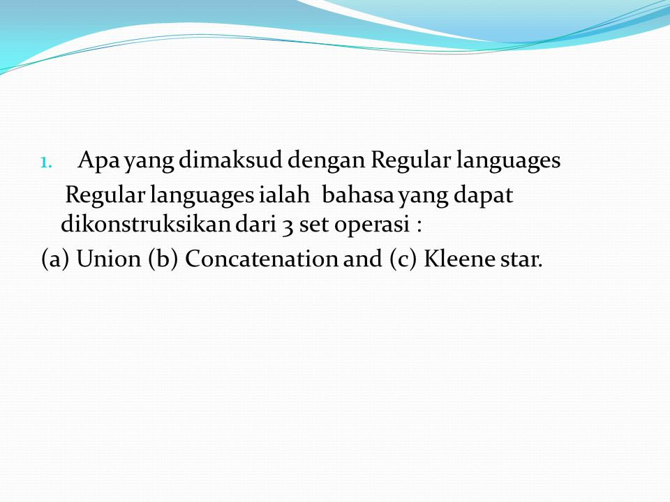 Apa yang dimaksud dengan Regular languages