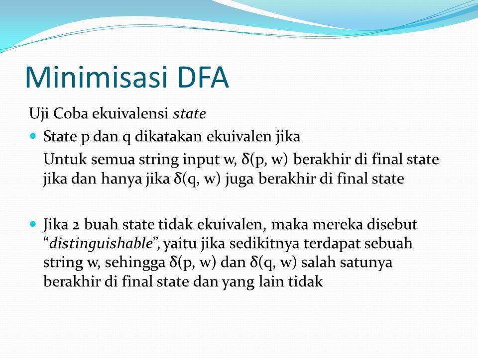 Minimisasi DFA Uji Coba ekuivalensi state
