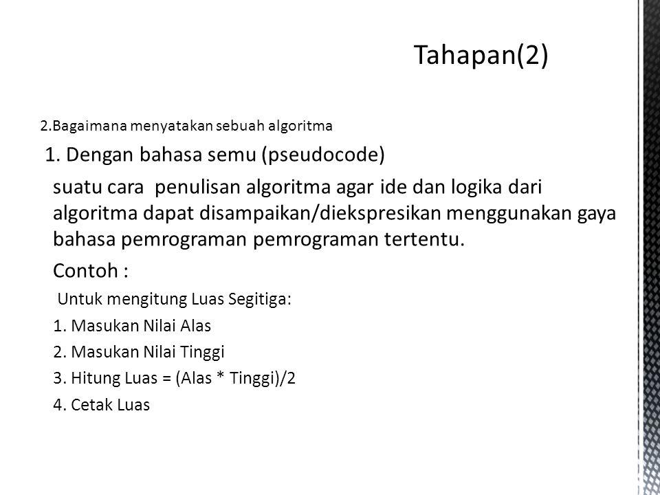 Tahapan(2) 1. Dengan bahasa semu (pseudocode)