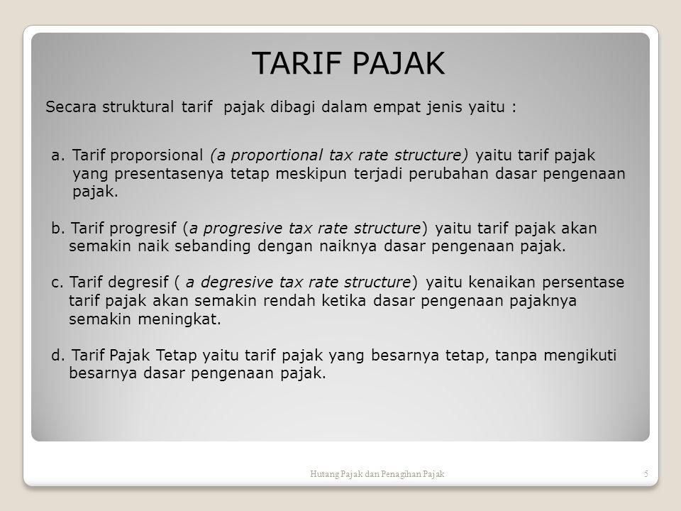 TARIF PAJAK Secara struktural tarif pajak dibagi dalam empat jenis yaitu :