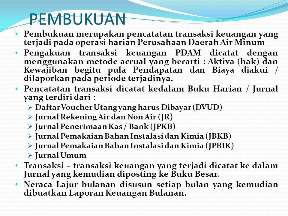 PEMBUKUAN Pembukuan merupakan pencatatan transaksi keuangan yang terjadi pada operasi harian Perusahaan Daerah Air Minum.
