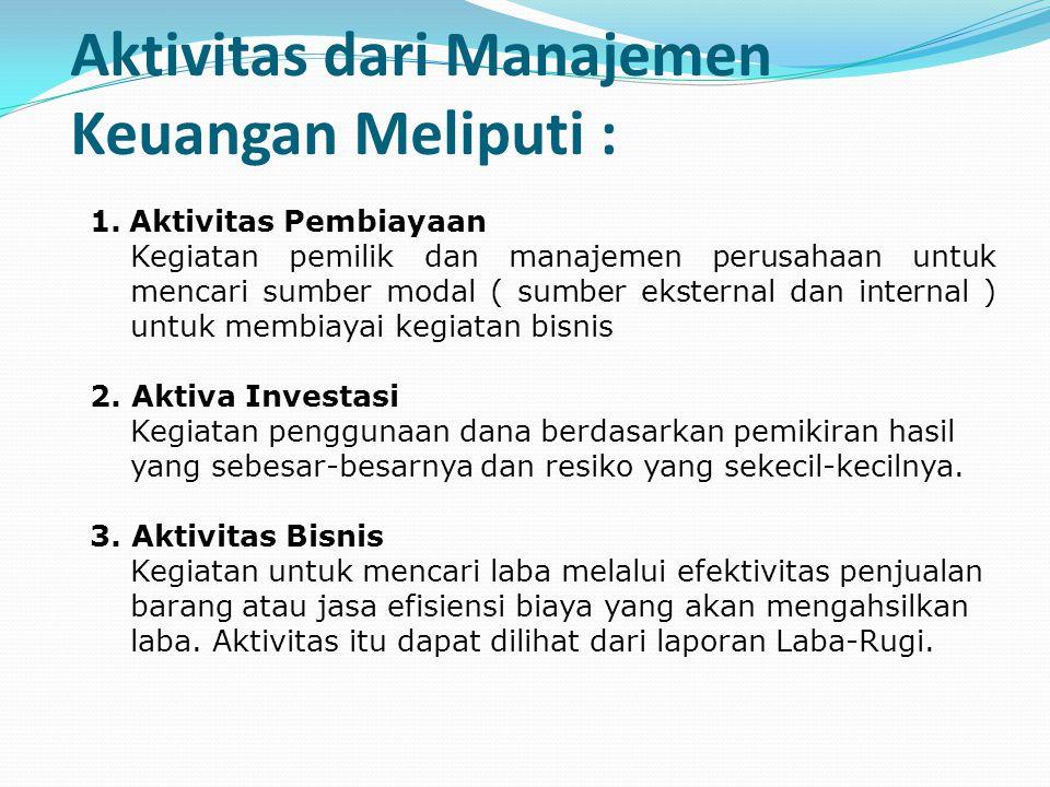 Aktivitas dari Manajemen Keuangan Meliputi :