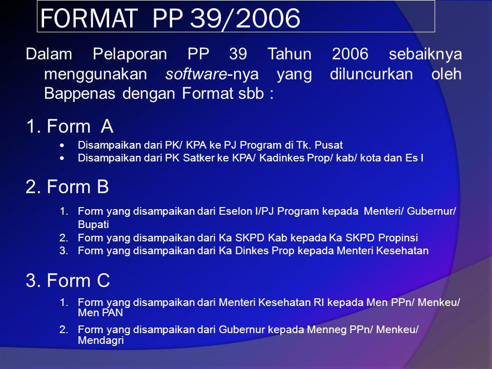FORMAT PP 39/2006 Dalam Pelaporan PP 39 Tahun 2006 sebaiknya menggunakan software-nya yang diluncurkan oleh Bappenas dengan Format sbb :