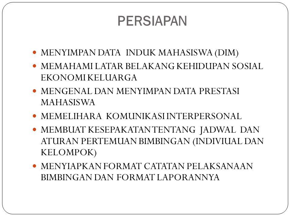 PERSIAPAN MENYIMPAN DATA INDUK MAHASISWA (DIM)