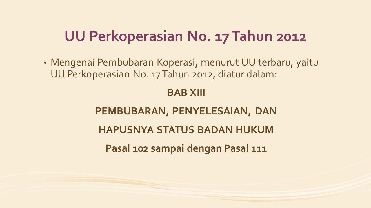 UU Perkoperasian No. 17 Tahun 2012