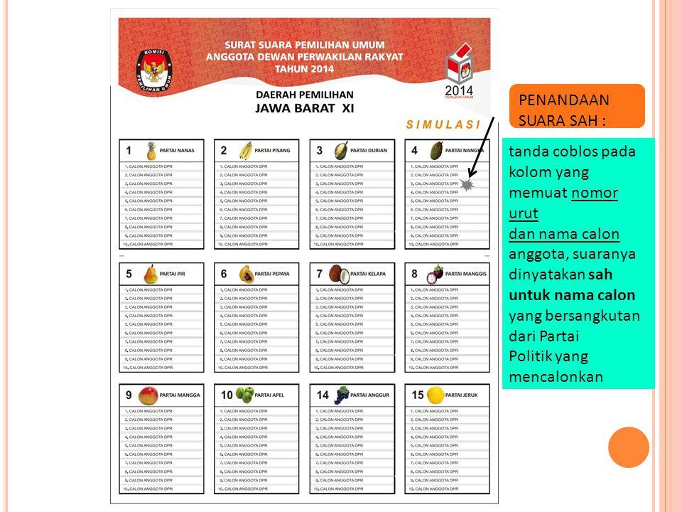 PENANDAAN SUARA SAH : tanda coblos pada kolom yang memuat nomor urut. dan nama calon anggota, suaranya dinyatakan sah.