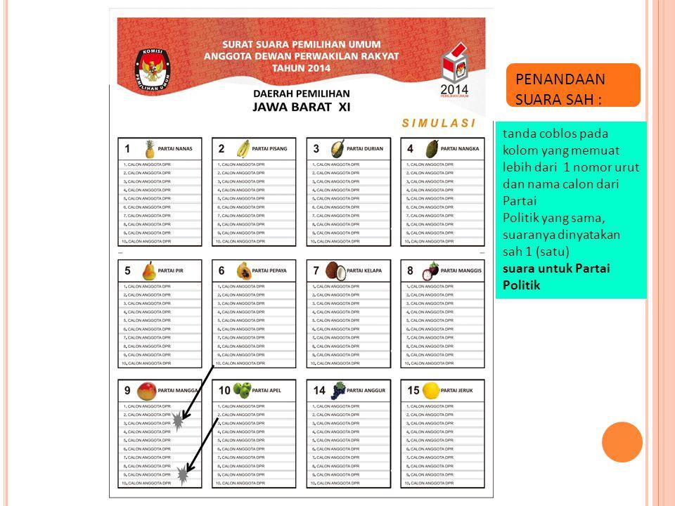 PENANDAAN SUARA SAH : tanda coblos pada kolom yang memuat lebih dari 1 nomor urut dan nama calon dari Partai.