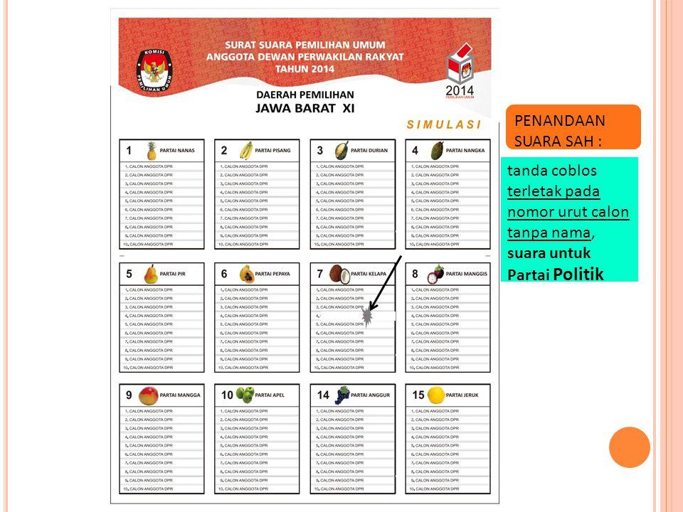PENANDAAN SUARA SAH : tanda coblos terletak pada nomor urut calon tanpa nama, suara untuk Partai Politik.