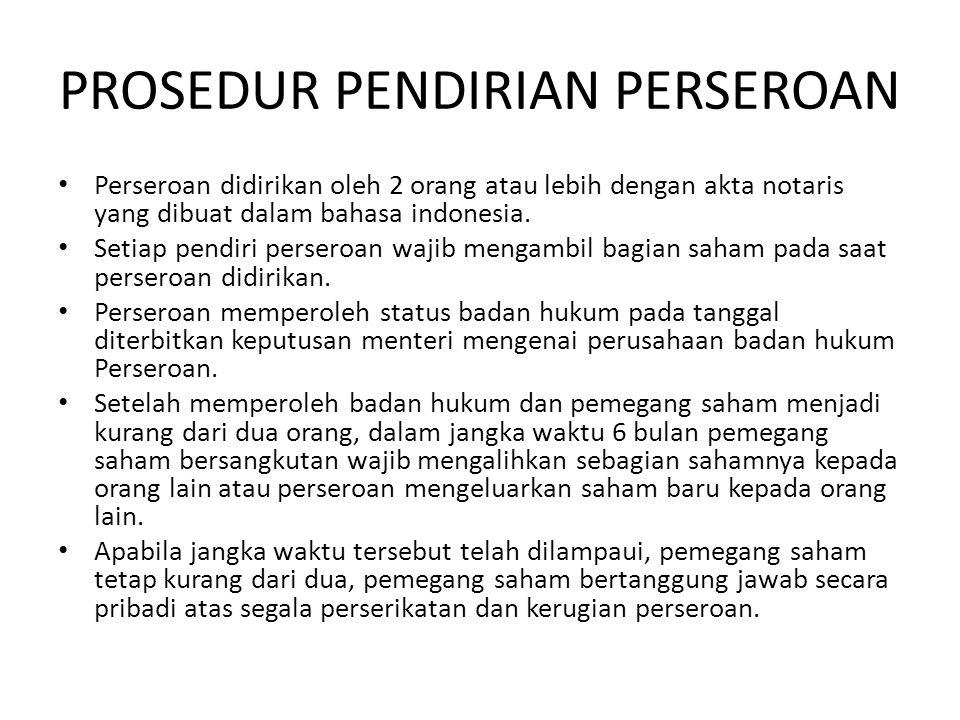 PROSEDUR PENDIRIAN PERSEROAN