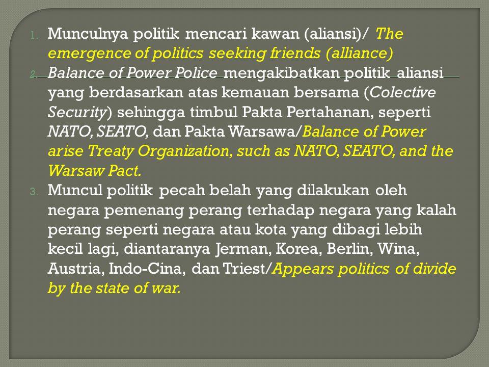 Munculnya politik mencari kawan (aliansi)/ The emergence of politics seeking friends (alliance)