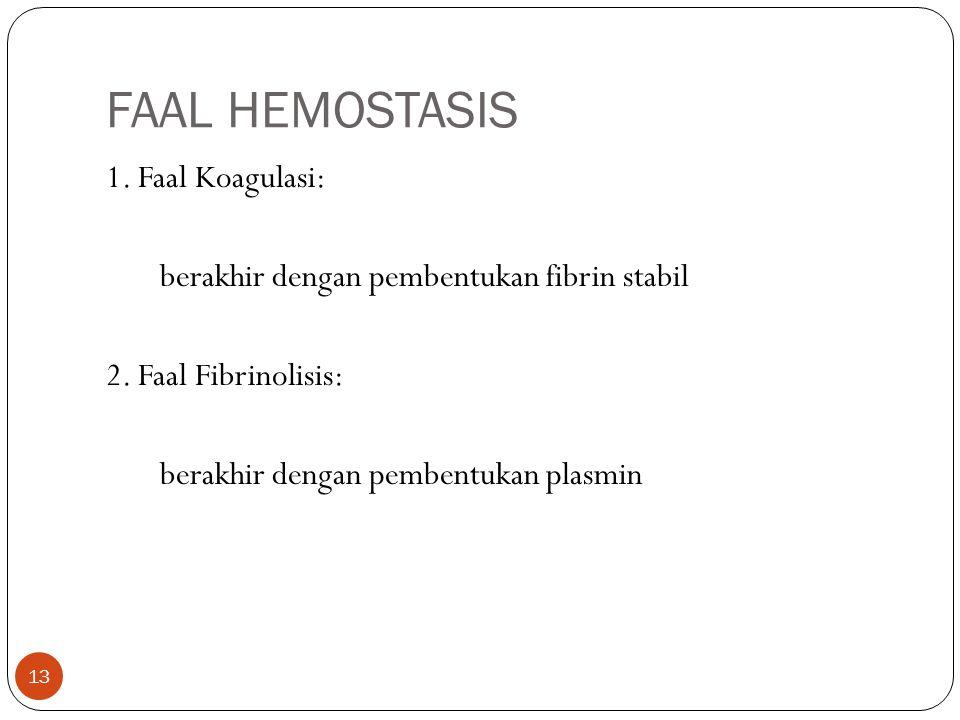 FAAL HEMOSTASIS 1. Faal Koagulasi: berakhir dengan pembentukan fibrin stabil 2.