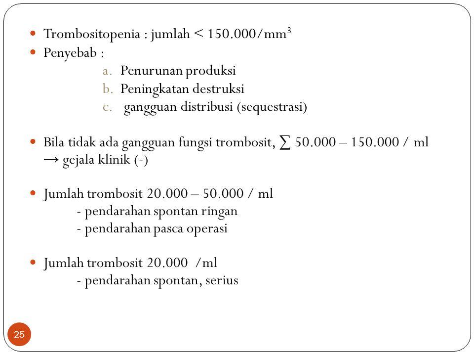Trombositopenia : jumlah < 150.000/mm3