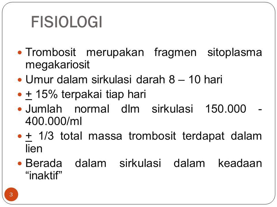 FISIOLOGI Trombosit merupakan fragmen sitoplasma megakariosit
