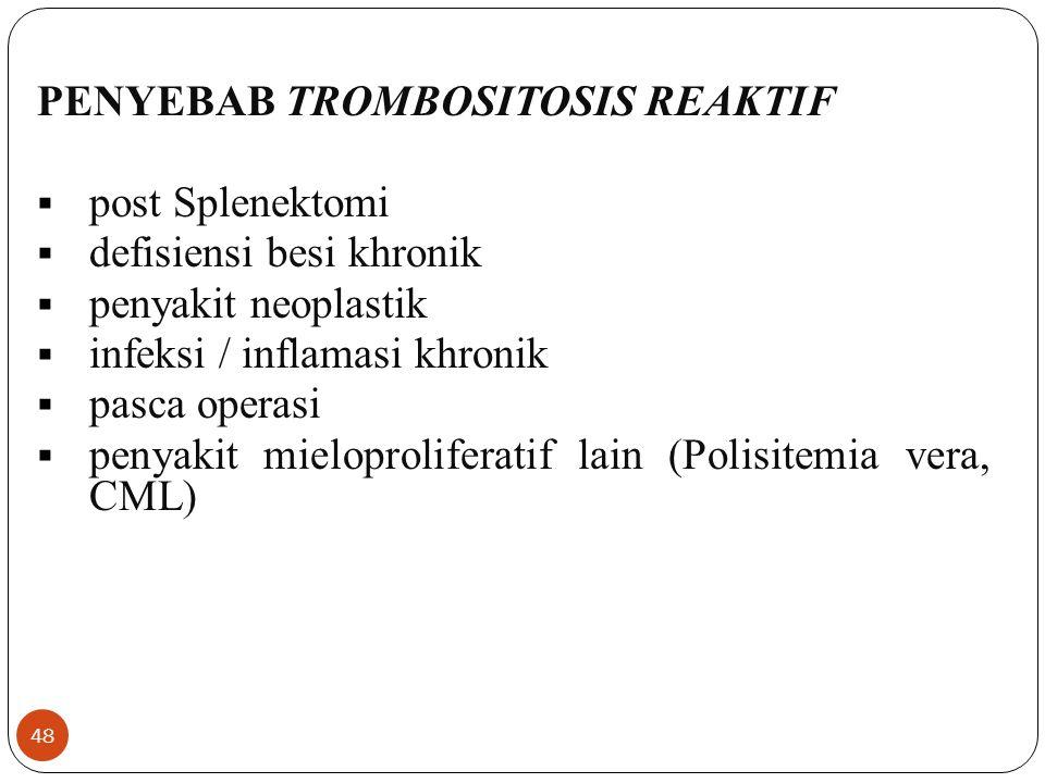 PENYEBAB TROMBOSITOSIS REAKTIF