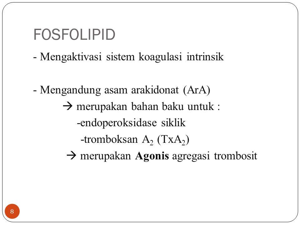FOSFOLIPID - Mengaktivasi sistem koagulasi intrinsik