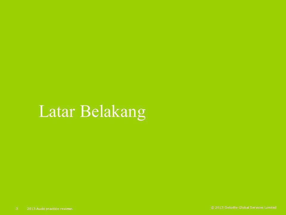 Latar Belakang 2013 Audit practice reviews