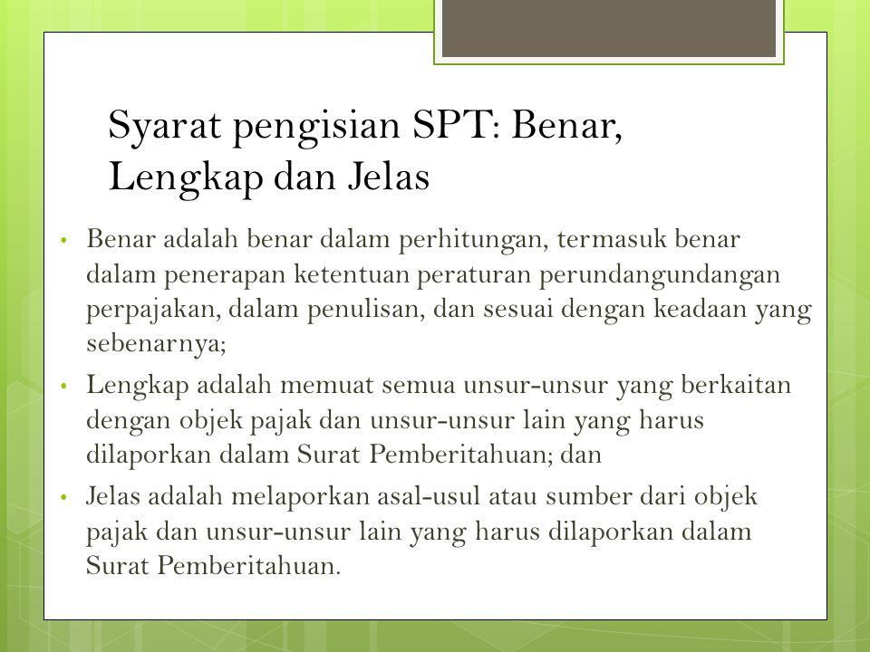 Syarat pengisian SPT: Benar, Lengkap dan Jelas