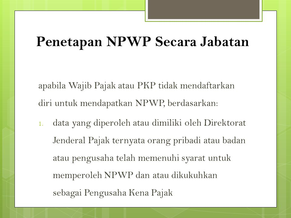 Penetapan NPWP Secara Jabatan