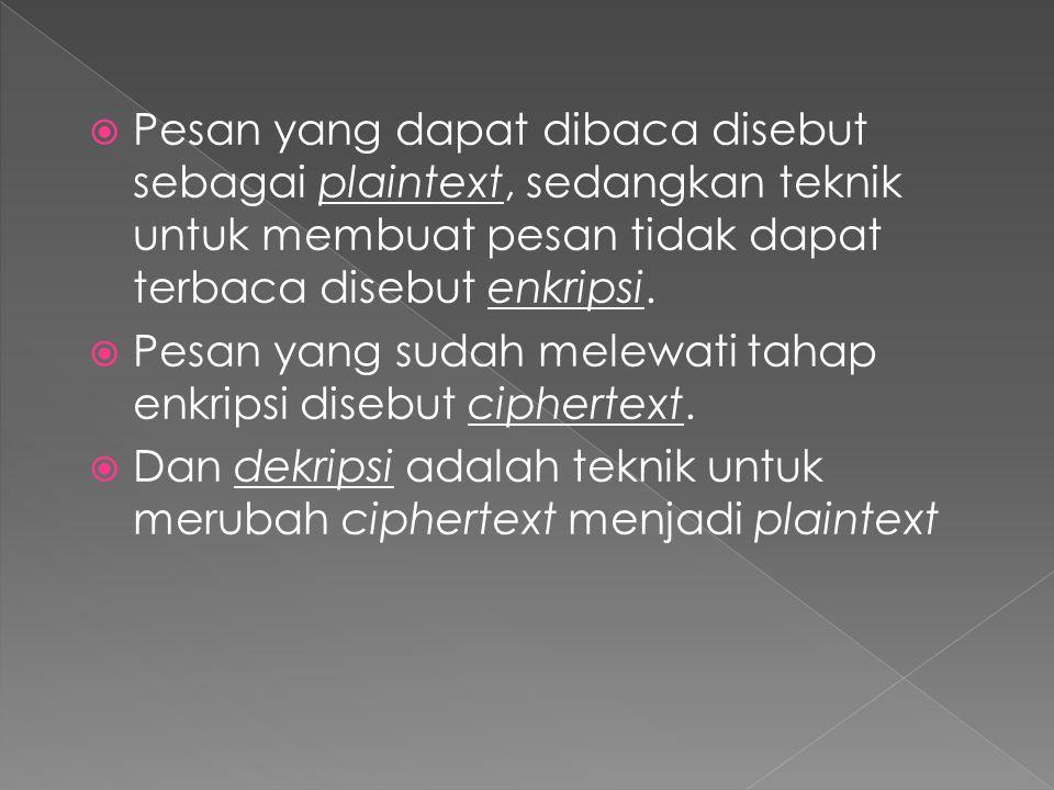 Pesan yang dapat dibaca disebut sebagai plaintext, sedangkan teknik untuk membuat pesan tidak dapat terbaca disebut enkripsi.