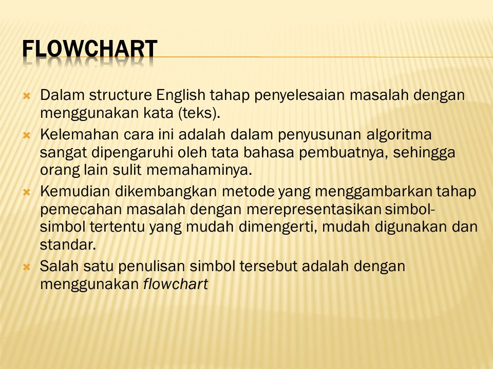 Flowchart Dalam structure English tahap penyelesaian masalah dengan menggunakan kata (teks).