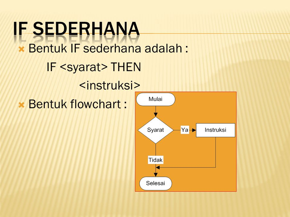 IF sederhana Bentuk IF sederhana adalah : IF <syarat> THEN