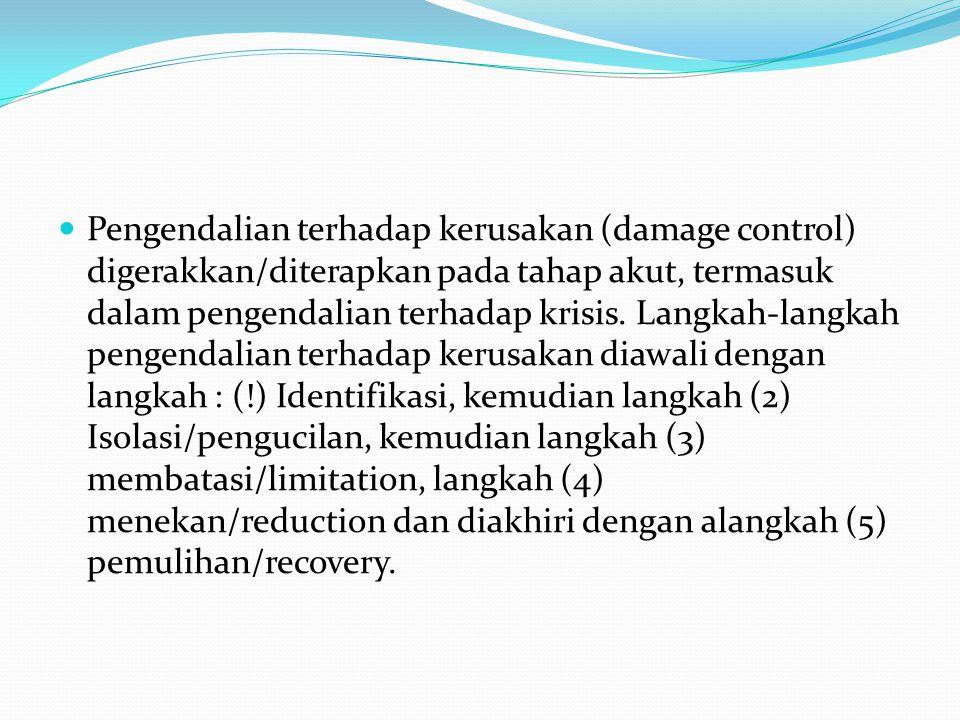 Pengendalian terhadap kerusakan (damage control) digerakkan/diterapkan pada tahap akut, termasuk dalam pengendalian terhadap krisis.