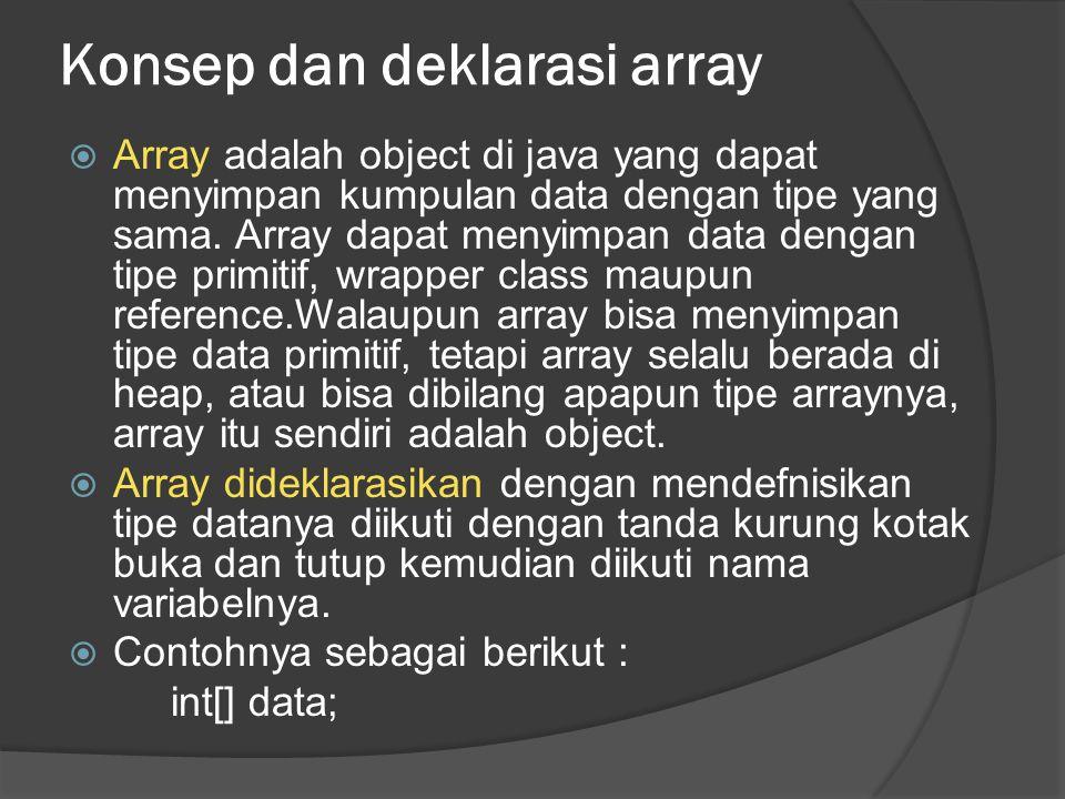 Konsep dan deklarasi array