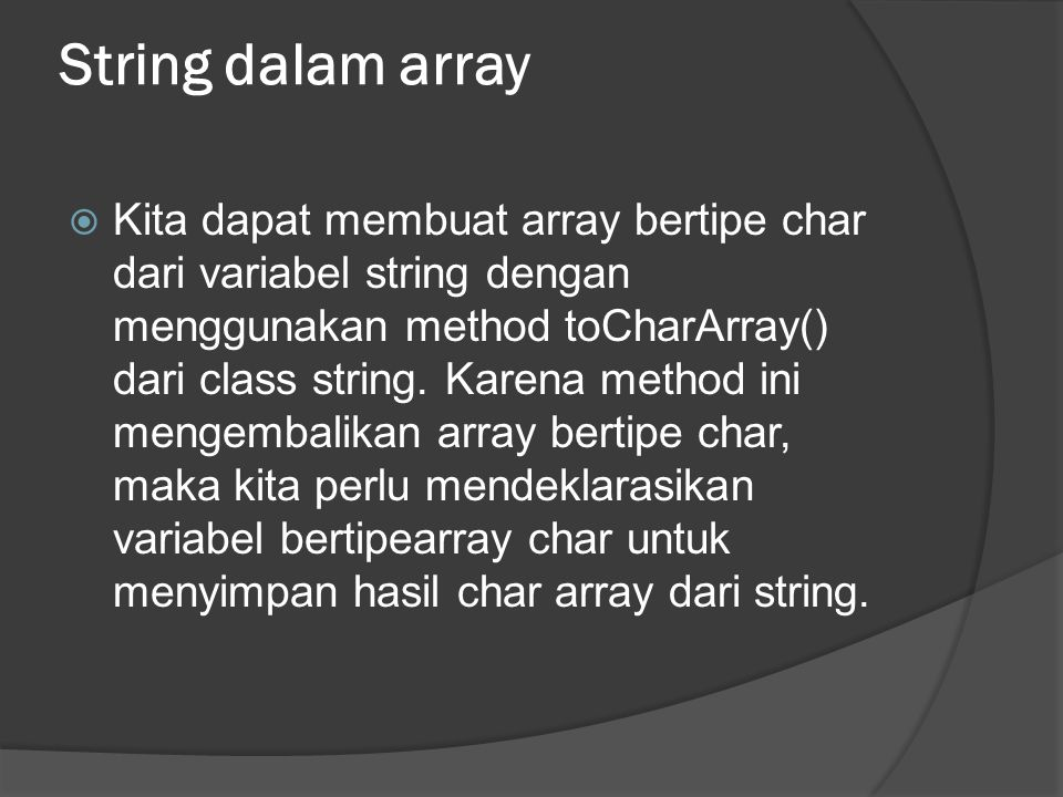 String dalam array