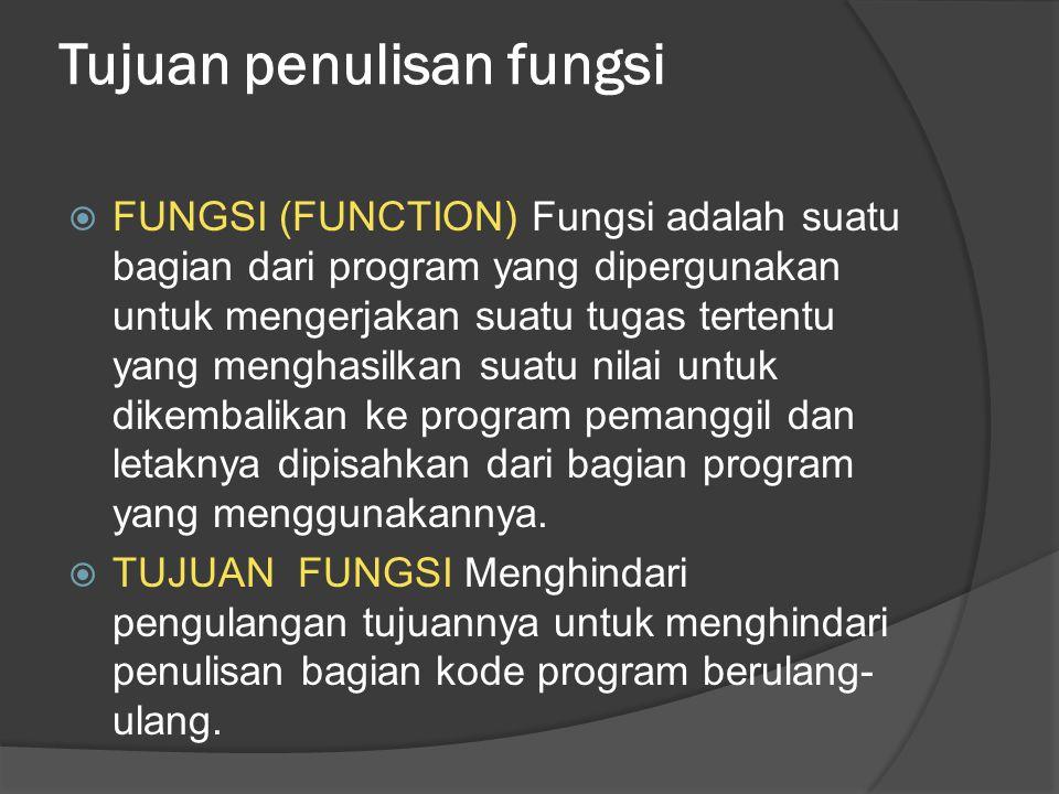 Tujuan penulisan fungsi