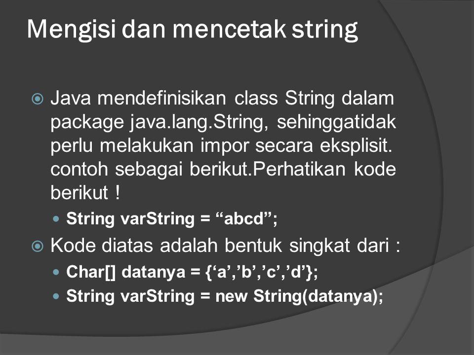 Mengisi dan mencetak string