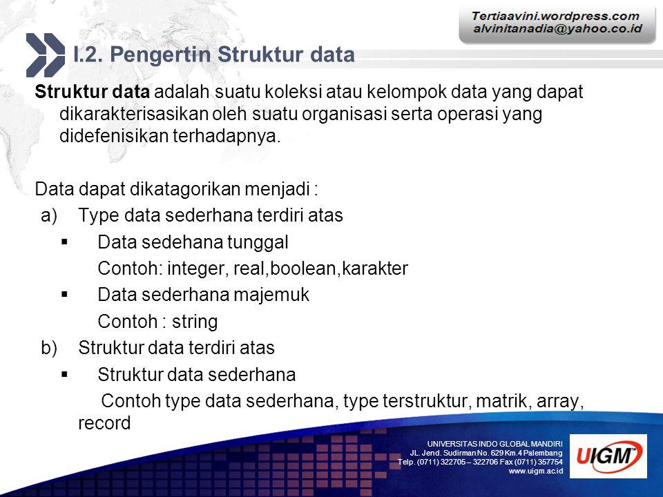I.2. Pengertin Struktur data