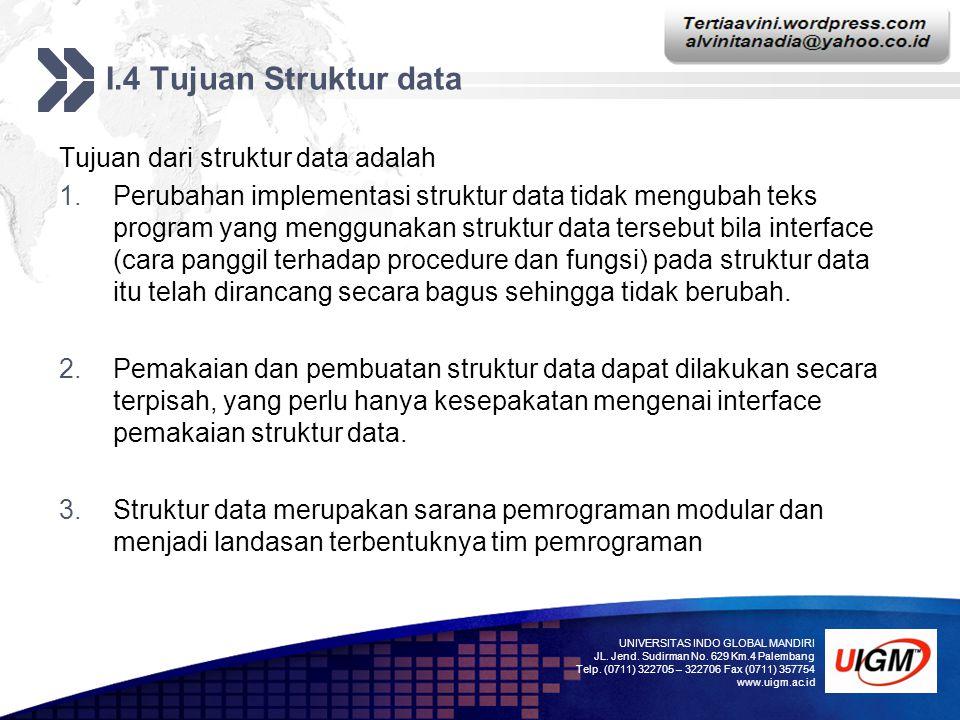I.4 Tujuan Struktur data Tujuan dari struktur data adalah