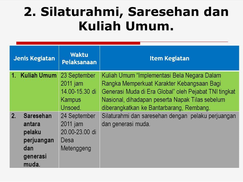 2. Silaturahmi, Saresehan dan Kuliah Umum.