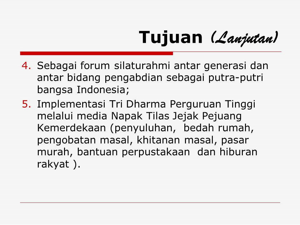 Tujuan (Lanjutan) Sebagai forum silaturahmi antar generasi dan antar bidang pengabdian sebagai putra-putri bangsa Indonesia;