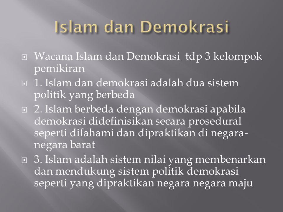 Islam dan Demokrasi Wacana Islam dan Demokrasi tdp 3 kelompok pemikiran. 1. Islam dan demokrasi adalah dua sistem politik yang berbeda.
