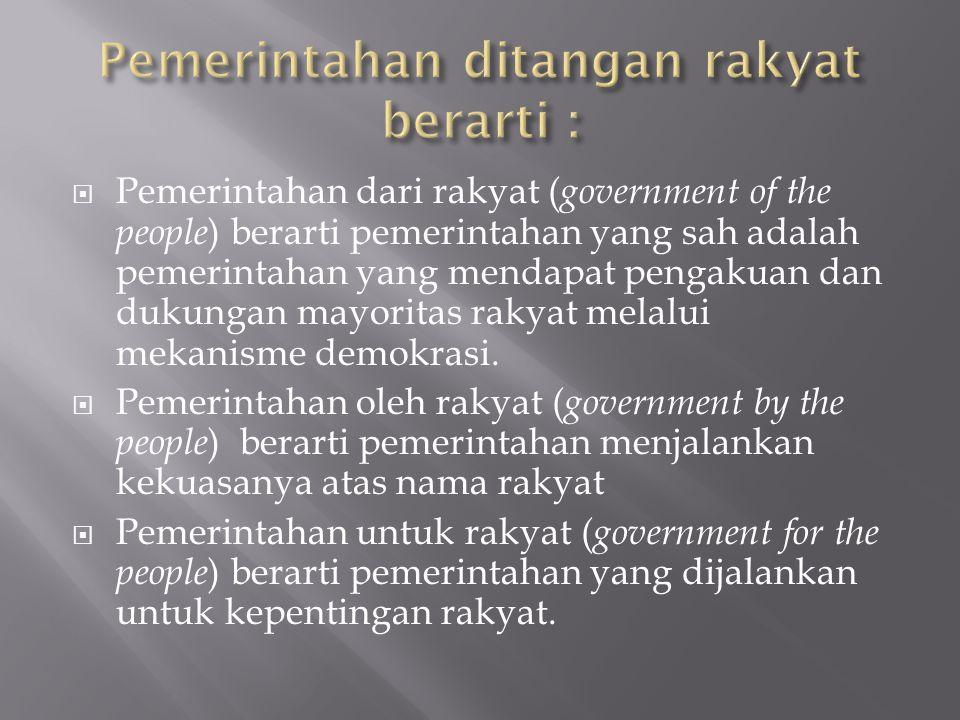 Pemerintahan ditangan rakyat berarti :