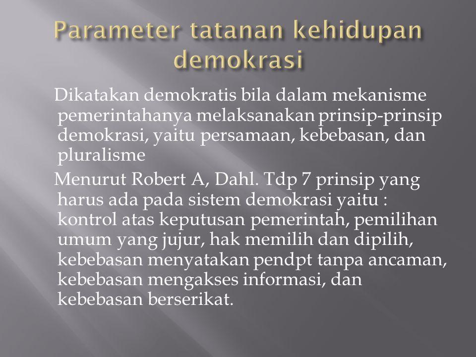 Parameter tatanan kehidupan demokrasi